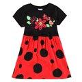 Новые nova Девочки платья дизайн горошек детская одежда горячий продавать вышивка цветок девочки платья летней одежды