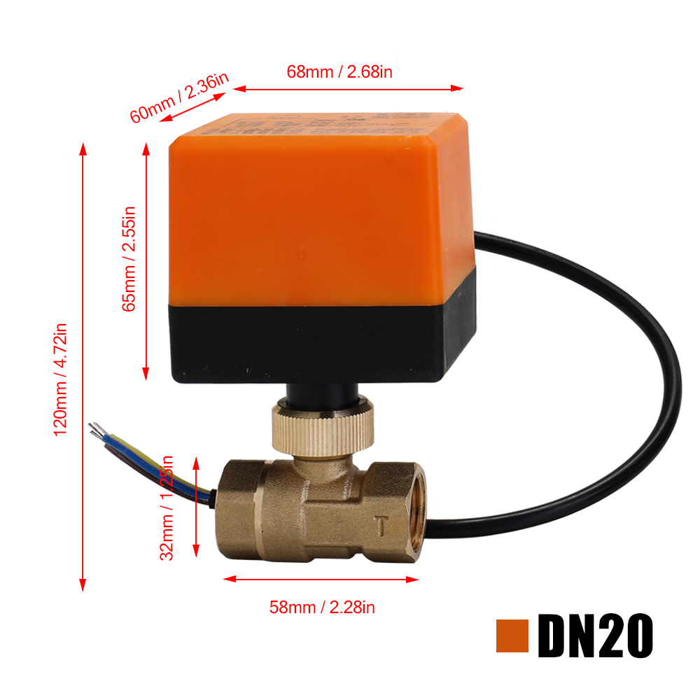 Image 5 - DN15/DN20/DN25 Electric Motorized Brass Ball Valve DN20 AC 220V 2 Way 3 Wire with Actuator Manual Switch Free Ship-in Valve from Home Improvement