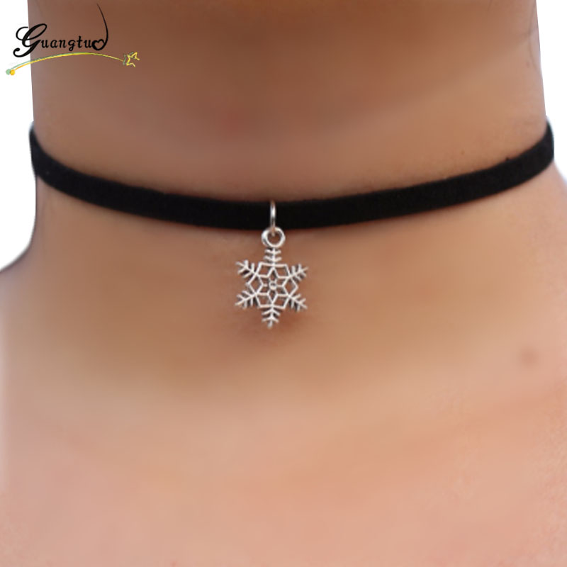 Trendy Silver Plated Snowflake Shape Black Velvet Choker Necklaces Punk Collares Fashion Jewelry For Women 80