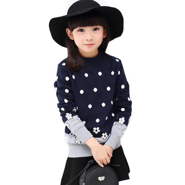 Nueva Moda Otoño Niños Suéter de manga larga Polka Dot Floral Bebé de Punto Cardigans Suéter de Los Niños Ropa de Invierno