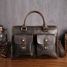 Vintage Casual Leather Crazy Horse Multi-Pocket 13 Inch Cowhide Handbag Crossbody Laptop Briefcase Bag for Man anaph unisex leather satchel briefcase crazy horse messenger bag casual crossbody bag attache 13 inch laptop case coffee