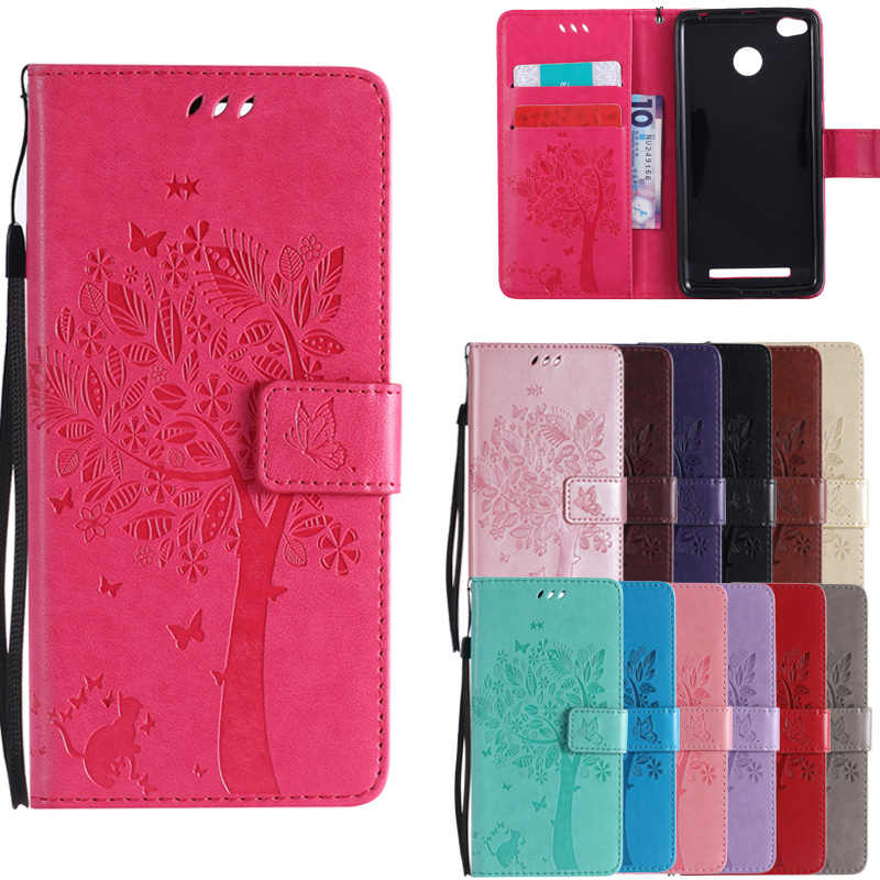 For Coque Xiaomi Redmi 3S 3 S Case Cat and Tree Embossed Flip Wallet Stand Holder PU Leather Bag Phone Cover for Redmi 3 Pro