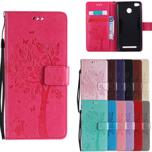 For Coque Xiaomi Redmi 3S 3 S Case Cat and Tree Embossed Flip Wallet Stand font