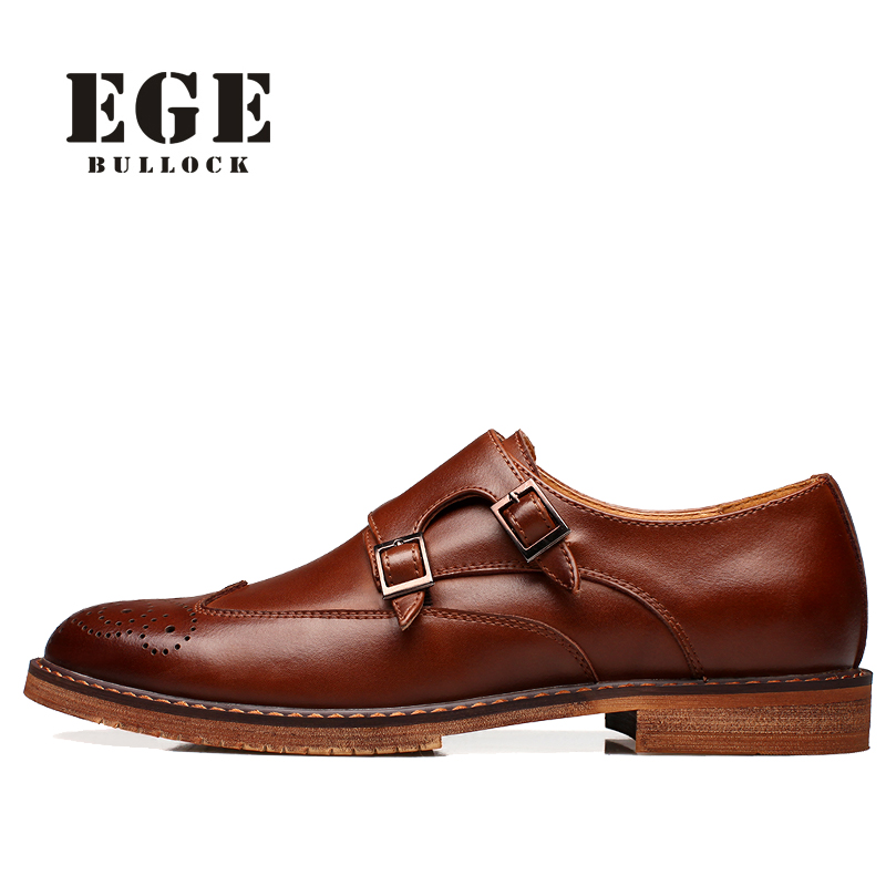EGE Men Flats New Buckle Strap Red Male Dress Shoes Autumn Oxfords British Fashion Casual Genuine Leather Bullock Solid Shoes 2015 new spring and autumn full for grain soft genuine leather men s british business dress pointed toe solid buckle strap shoes