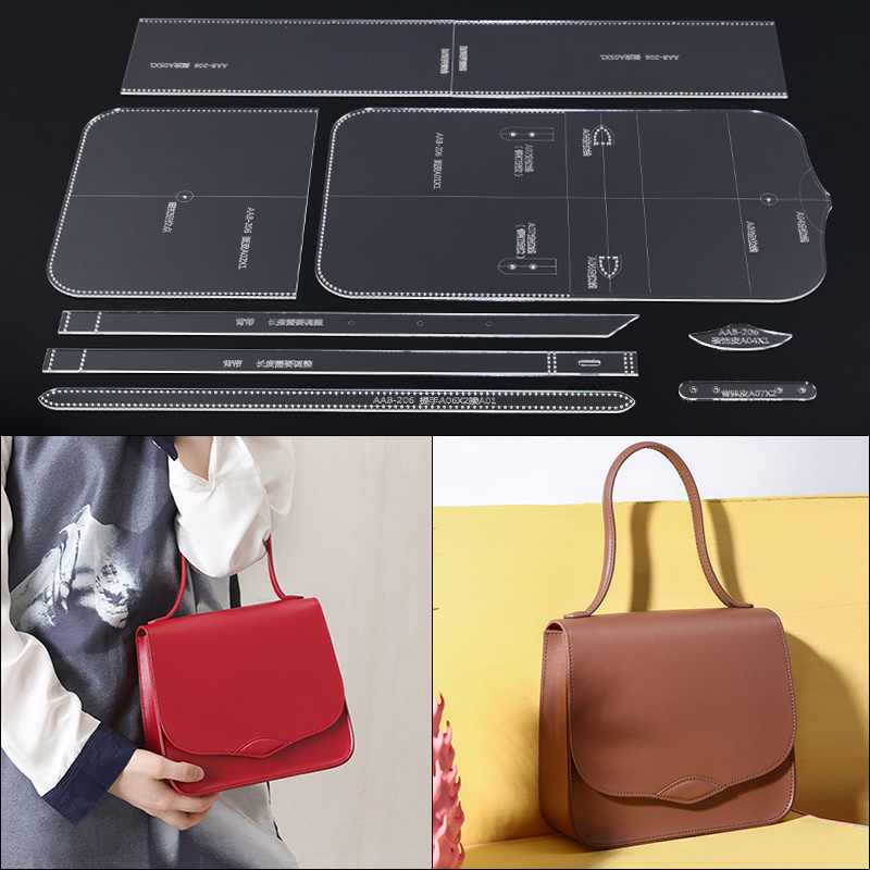 Leather Handmade Craft Women`s Hand Bag Sewing Pattern Acrylic Stencil Template Sewing Accessories With Holes 20.5x19x7cm