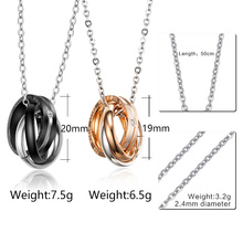 Vnox Fashion Interlocked Circle Pendant Engraved Words Couple Necklace Women Men Jewelry Stainless Steel Wedding Jewelry Gift