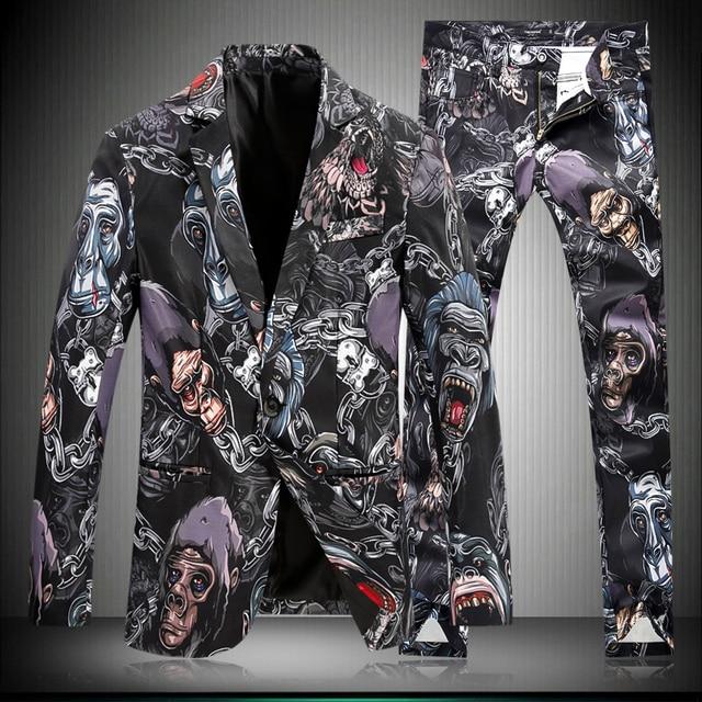 (Куртка + брюки) мужской костюмы из двух частей набор костюм печати случайные штаны брюки куртка blazer шоу для singer партия ночной клуб тонкий