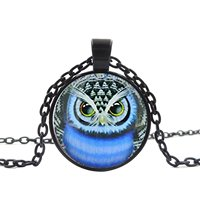LEO BON Glass Cabochon Necklace Owl Vintage Handmade Glass Dome Pendant Jewelry