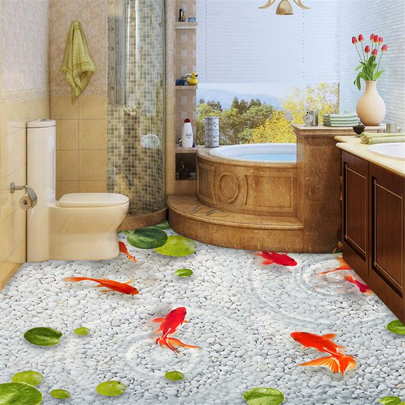 beibehang Lotus leaf fish Custom photo Wallpaper Waterproof Self-adhesive Wall Sticker 3D Floor Painting Mural Wall Paper roll