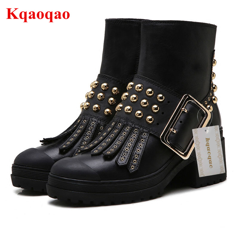 Luxury Brand Metal Belt Buckle Women Boots Side Zip Design Shoes Gold Rivets Embellished Ankle Boots Short Booties Tassel Decor 2017 genuine leather women ranger boots famous designer motorcycle fashion work brand shoes zip front design ankle short booties
