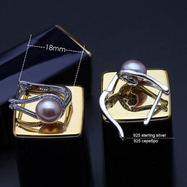 Carino reale 925 orecchini in argento per le donne, ragazza migliore regalo bianco nero grigio perla d'acqua dolce naturale orecchini