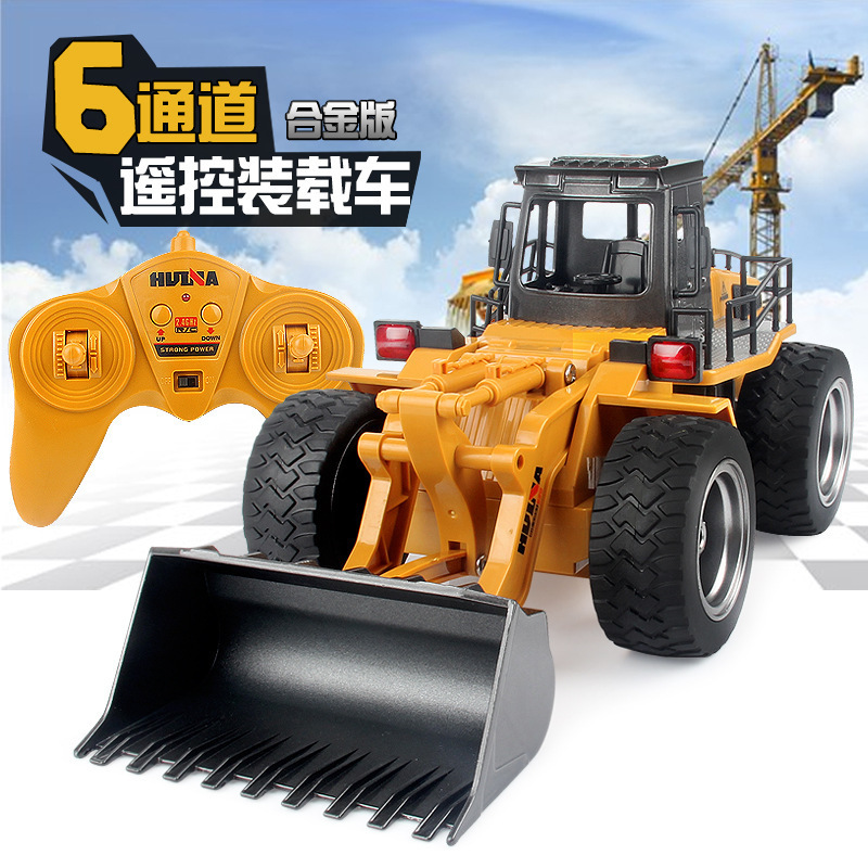 Alloy remote controlled bulldozer 6 channels children electric remote control engineering Truck model car toy birthday gift