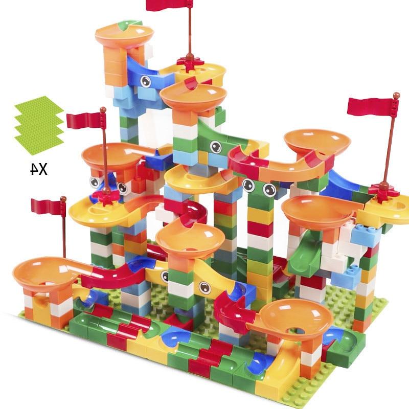 296 pcs Marbre Course Run Labyrinthe Balle Piste Blocs de Construction ABS Entonnoir Glisser Assembler Briques Compatible LegoING Duplo Blocs kid jouet