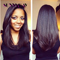 Indian Remy Human Hair Yaki Straight Full Lace Wig Natural Color Bleached Knots Human Hair Wigs