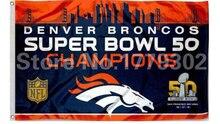(Navio de eua) Denver Broncos Super Bowl 50 3 'X 5' Ventilador bandeira 150X90 CM bandeira de cobre amarillo metal del agujeros Bandeira