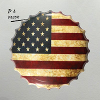 DL USA Flag Bottle Cap Mural Painting Antique Gift Metal Plaque Club Party HOT Retro Tin Sign Decor