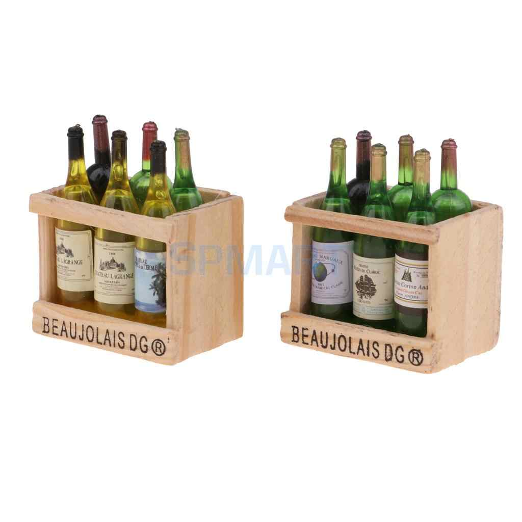 1//12 Dollhouse Miniature Champagne Bottle With Magnet Wooden Box 3 Set Mixed