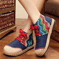 HOT Selling 2017 Round Toe Fashion Retro Canvas National Women Female Spring High Help Lacing Flat Casual Shoes Zapatillas G537