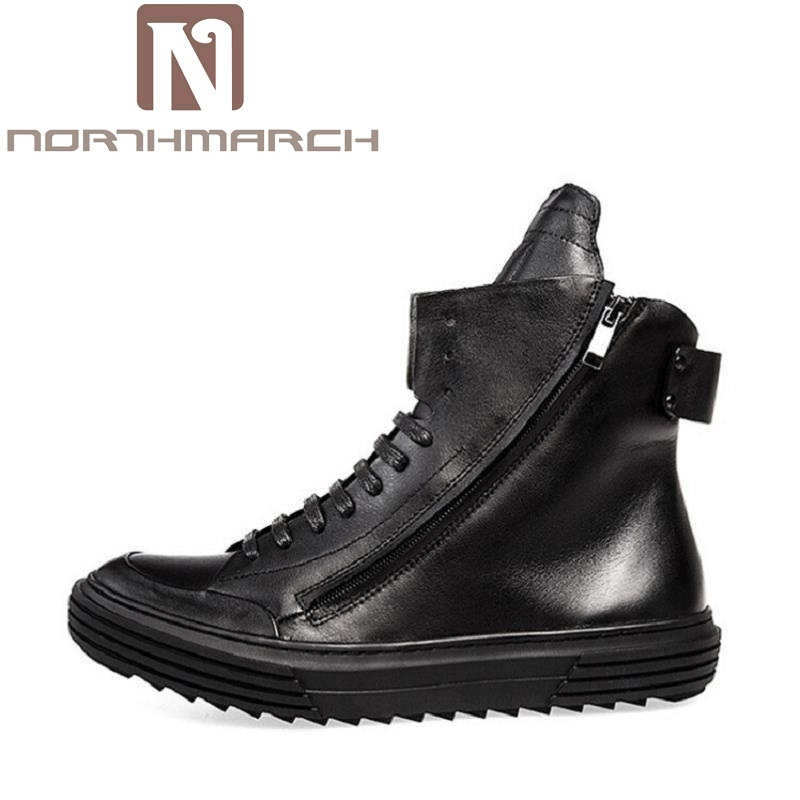 NORTHMARCH Autumn Winter British Retro Men Shoes Leather Casual Boots High Top Shoes Martin Breathable Sneake Boots Men Zipper легкая шубка из вязаной овчины