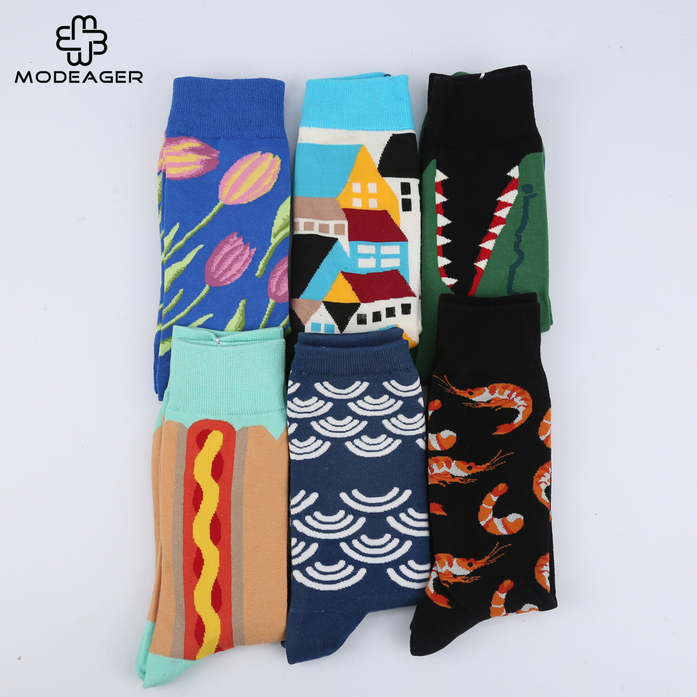 Modeager Fashion Mens Funny Socks Seafood Plant Animals Winter Thick Novelty Casual Long Socks for Men