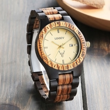 LeeEv Luxury Brand Unisex Wood Watch Men Women Analog Japan Quartz Date Handmade Zebra Black Wooden Watches Wristwatches Relogio
