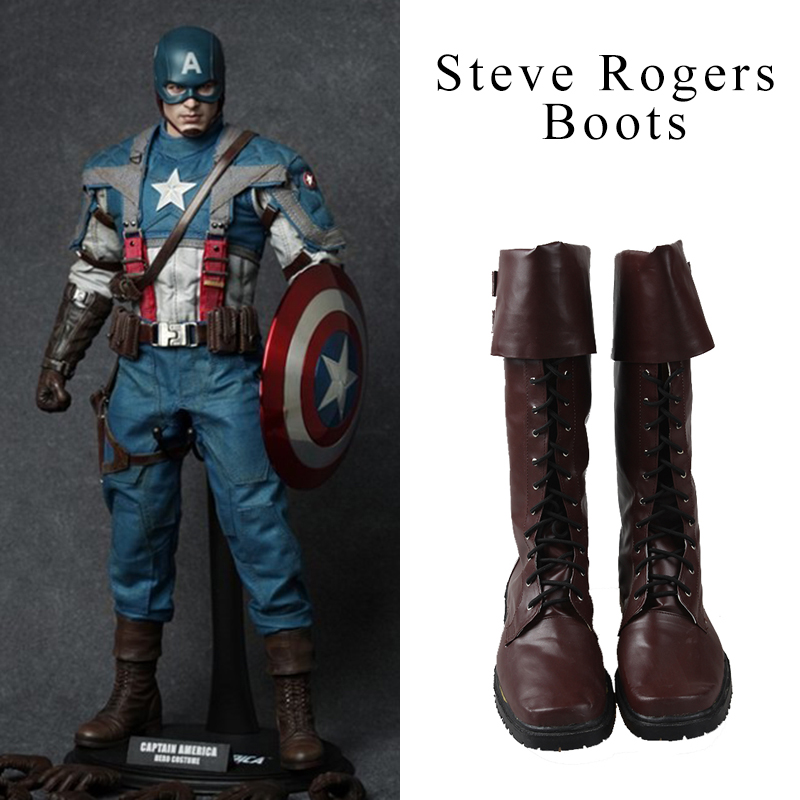 Manles Original Captain America Cosplay Shoes Boots The First Avenger Steven Steve Rogers Cosplay Shoes