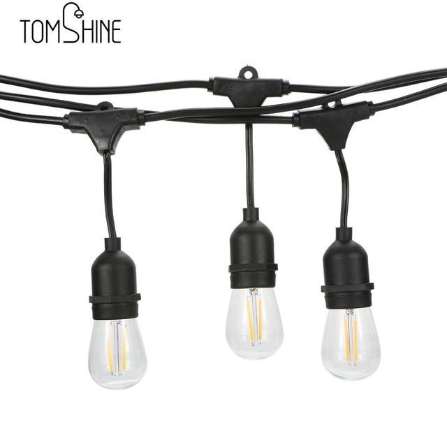 Tomshine String Light Kit AC230V 22.5W 49.9FT E27 Base ST45/S14 15PCS LED Filament Bulb Waterproof for Birthday Party Wedding