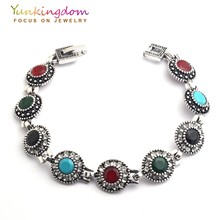 Yunkingdom Bohemian Ethnic Fashion Bracelet Stones Antique Gold Color Jewelry Young Women Lady Holiday Gifts YUN0614(China)
