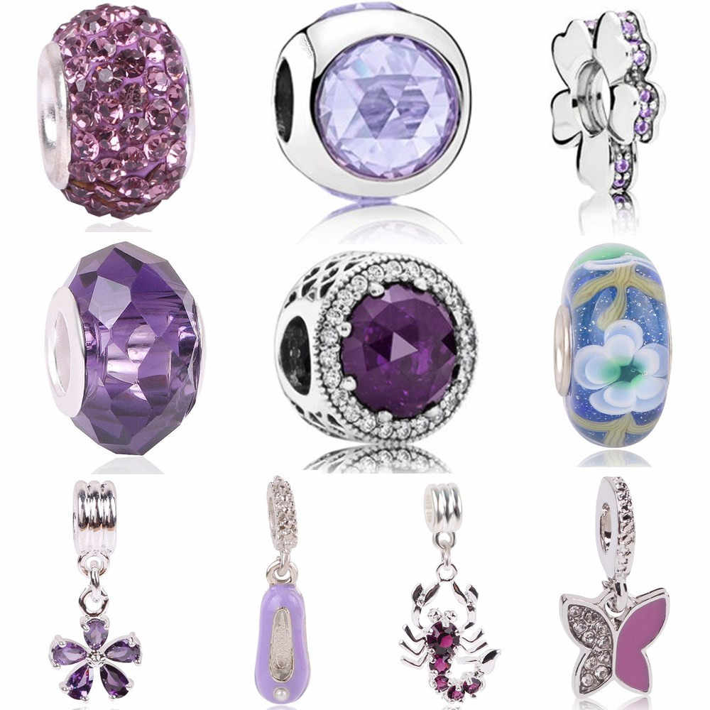 AIFEILI The New Charm Beads Personality Bracelet Jewelry European  Pendant Series Suitable for Pandora Purple Elegant Flower