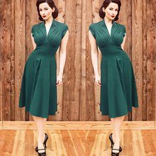 2016 New Women Summer Dress Retro Vintage 1950s 60s Rockabilly Solid Swing  Summer Lady Dresses Elegant b792cbc223ac