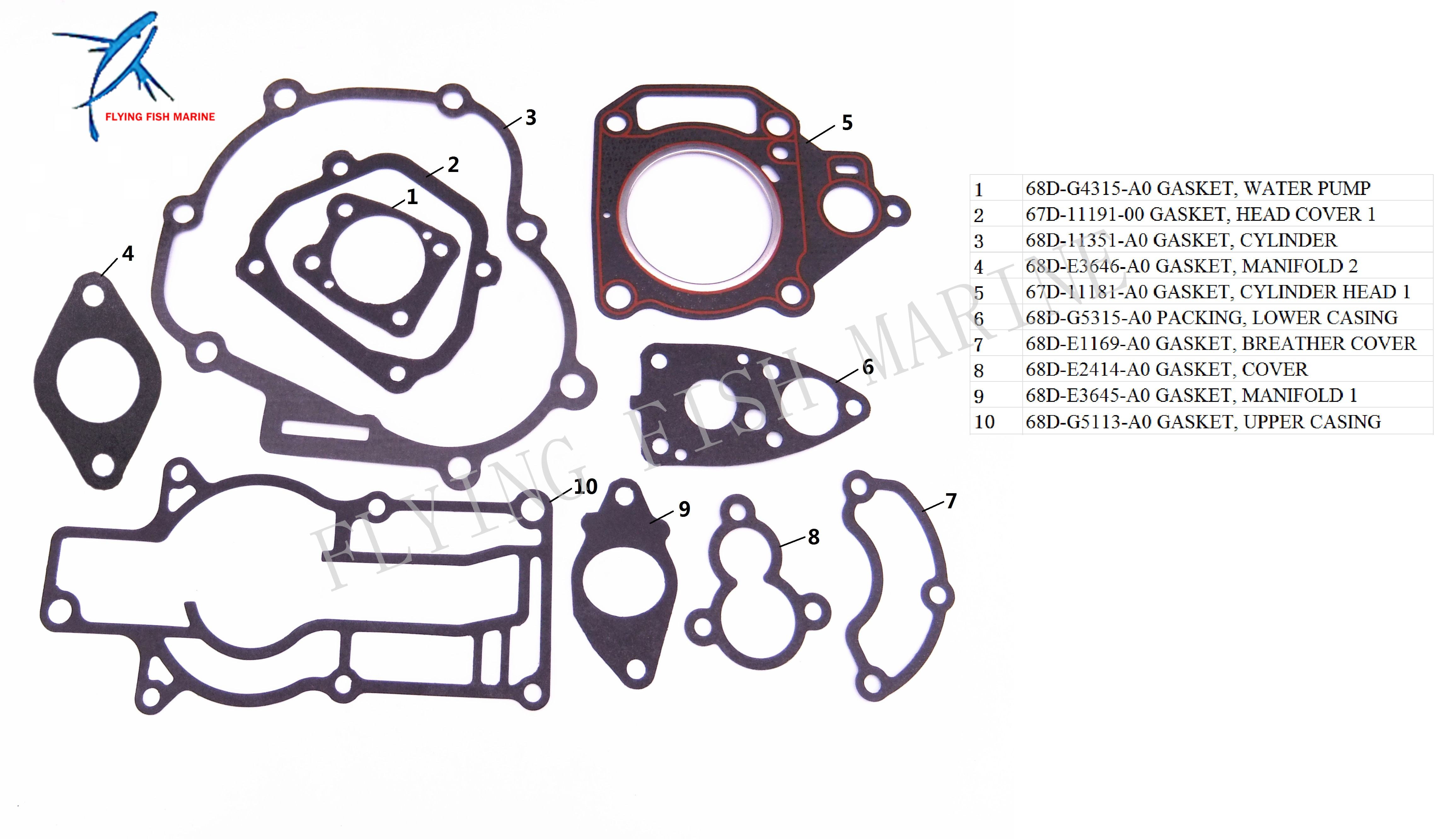 Outboard Engine 6a1 11181 A1 00 27 80313m Cylinder Head Gasket For Diagram Of 8 2 Cyl2strokeinternational Mercury Complete Power Seal Kit Yamaha F4 Boat Motor Free Shipping