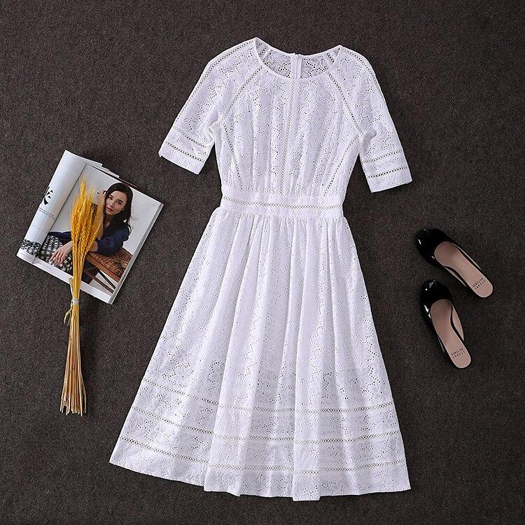 100% coton! Top qualité nouvelle Collection de mode Designer 2019 Style automne robe femmes évider broderie mi-mollet coton robe