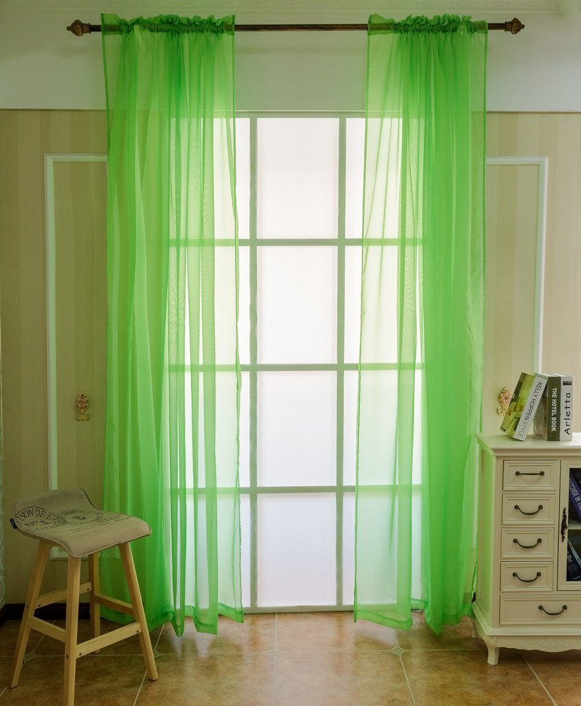 Japanese panel curtains - Sheer Curtain Solid Color Window Tulle Decoration Japanese And Korean Style Voile Curtains Panels One