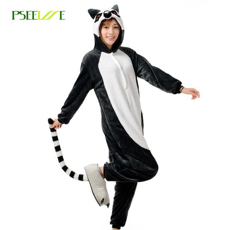 Adult Anime Pajamas Unisex Flannel Animal Pyjama Cosplay Onesie Sleepwear  Ring-tailed lemur Cosplay Onesie 80647fd2e