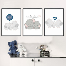 Kids Nursery Wall Art Canvas Prints Cartoon Family Elephant Poster Painting Decorative Pictures Nordic Baby Bedroom Decoration
