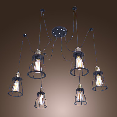 american style loft vintage pendant light fixtures with 6 lights edison industrial lamp lampen