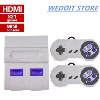 Mini HD HDMI TV Console de Videogame 8Bit Família Handheld Retro Game Console Embutido 821 jogos Clássicos para o gamepad Dual PAL & NTSC