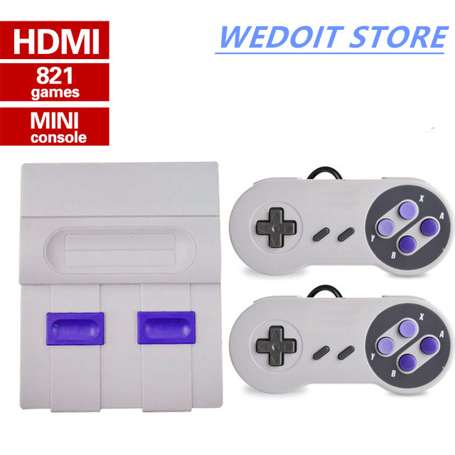 Mini HD HDMI TV Video Game Console 8Bit Family Handheld Retro Game Console Built-In 821 Classic games for Dual gamepad PAL&NTSC