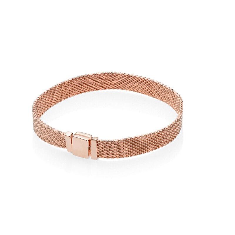 2018 reflexiones pulseras para las mujeres y de los hombres de moda rosa de oro brillo pulseras de reflexión de la joyería de la plata esterlina pulseras de cuentas