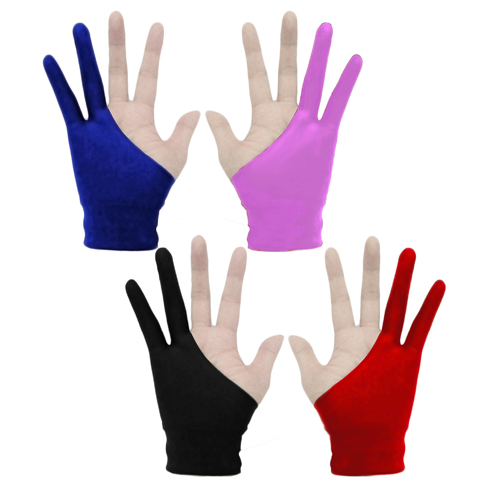 Behogar 4pcs Artist Gloves 2-fingers Drawing Gloves Anti-fouling for Graphic Tablet Drawing Pen Display Right Left Hand Size S M