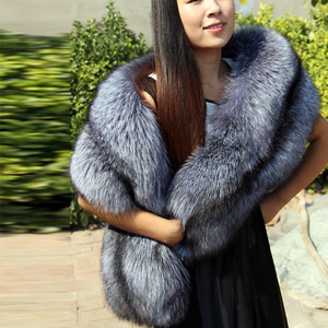 Image 5 - Natural Real Fur Scarf Shawl Women 120cm Winter Men Double sided Genuine Silver Fox Scarves Couples Luxury Grey Fox Collar