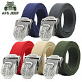 AFS JEEP Solid Men Military High Quality Canvas Solid Cotton Metal Buckle Belts,Wholesale Brand Man's Brief  Outdoor Waist brand