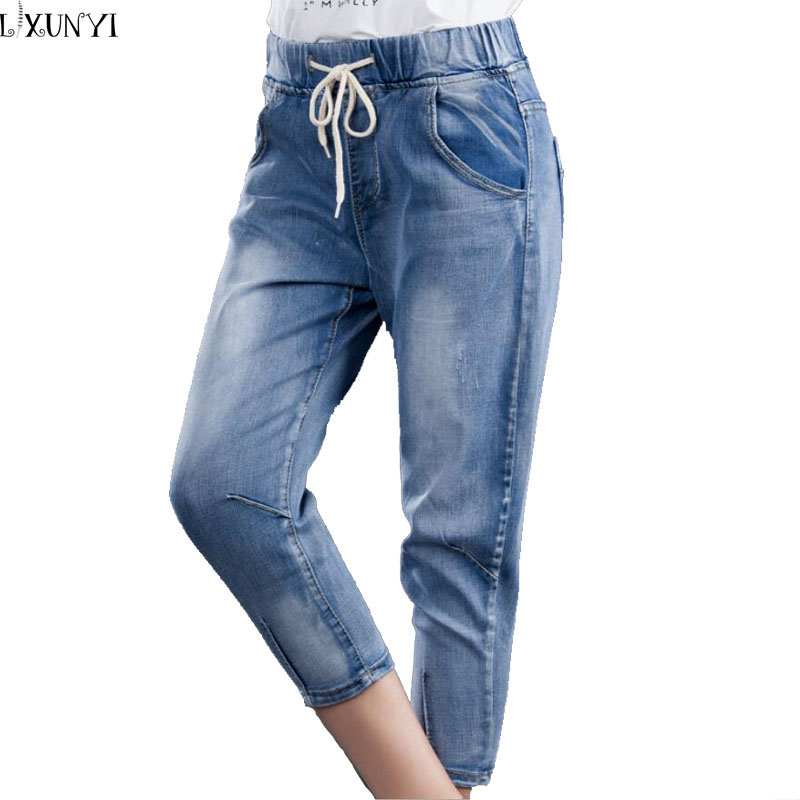 XL-5XL Factory Direct Summer  Jeans Woman Drawstring Elastic Slim Seven Points Pants Korean Female Haren Feet jeans