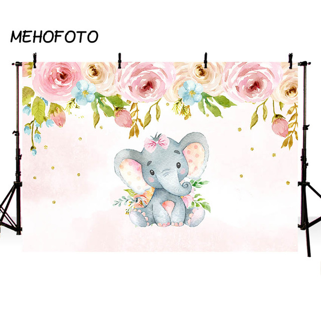 MEHOFOTO Pink Floral Elephant Party Backdrop Flowers Girl Baby Shower Birthday Photography Background Photobooth Banner Props