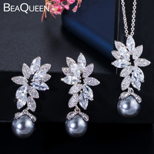 цена на BeaQueen Delicate Cubic Zirconia Micro Paved Leaf Flower Grey Pearl Earrings Pendant Necklace Jewelry Sets for Women JS198