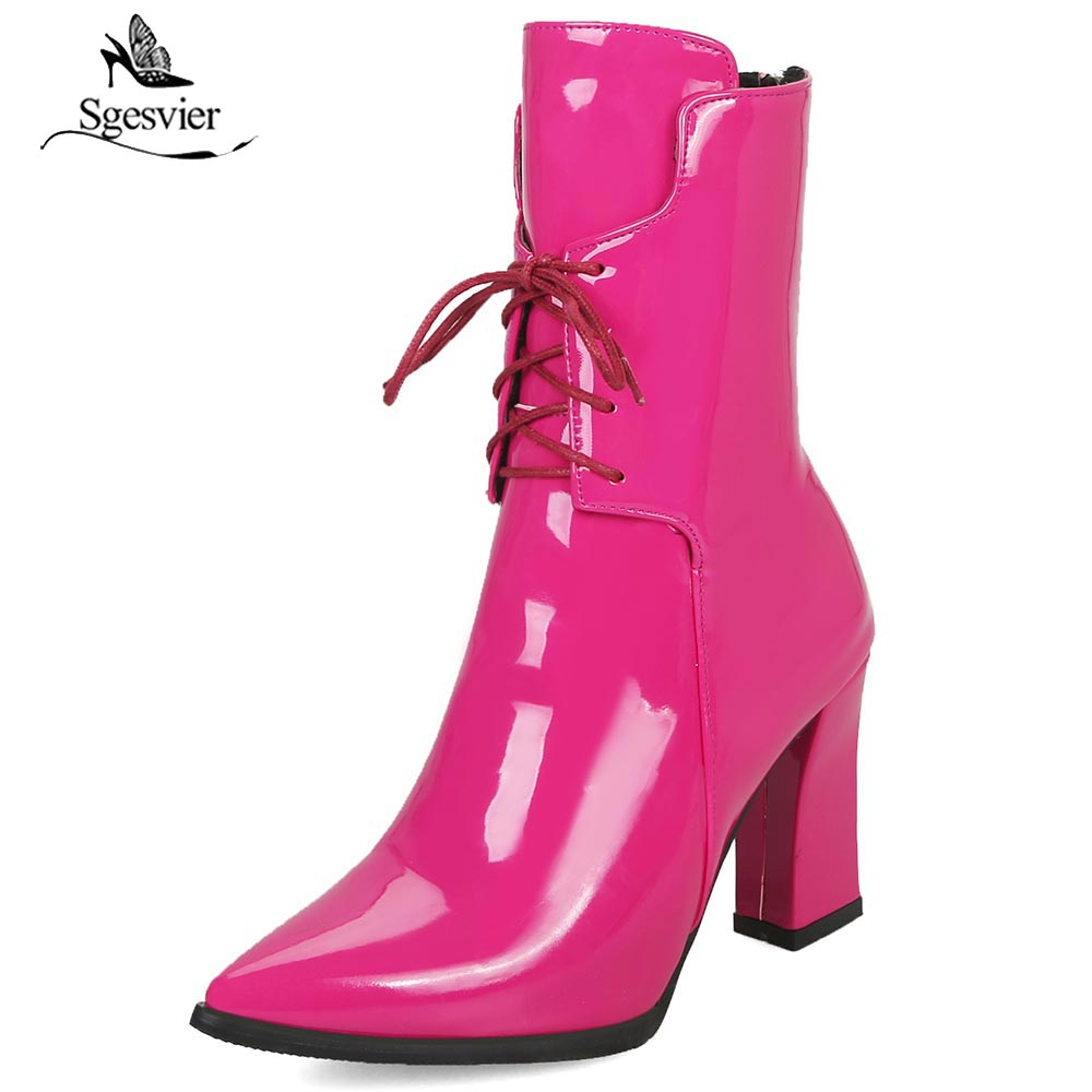 Sgesvier 2018 new women boots solid thick high heels Motorcycle boots pointed toe classic lace up ankle boots wholesale OX827Sgesvier 2018 new women boots solid thick high heels Motorcycle boots pointed toe classic lace up ankle boots wholesale OX827