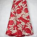 2016 Última tela de encaje francés Africano Encaje de Tul de Alta Calidad para el rojo nigeriano Suizo cordón de la gasa Vestido de Novia de Encaje Cordón tela
