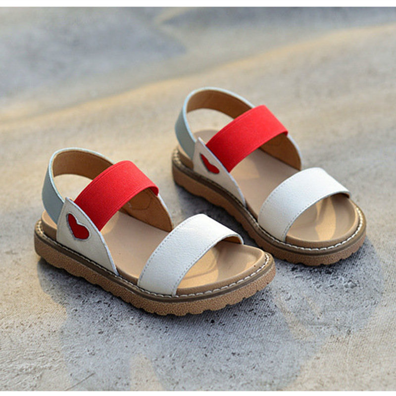 New Children's Sandals Fashion Genuine Leather Mixed Color Princess Shoes Party Show Girls Sandals Size 26-36