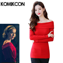 Chilling Adventure Cosplay Costume of Sabrinaa Spellman Similar Red Sweater Women Sexy Off the Shouler Spring Knitting Slim Tops
