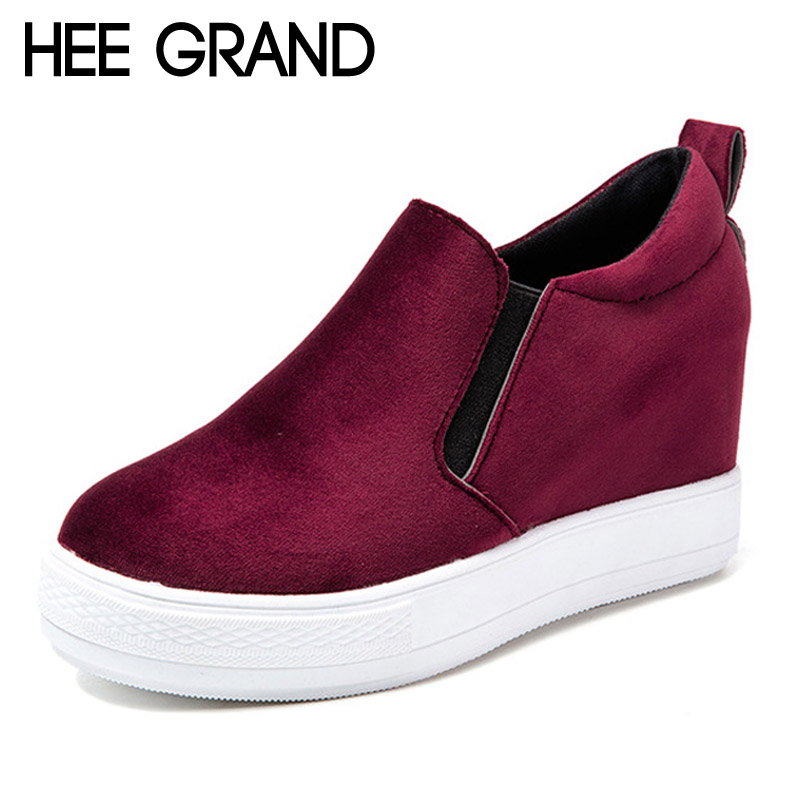HEE GRAND Casual Shoes Woman Velvet Platform Slip On Wedges Pumps Casual Women Shoes Solid Creepers 4 Colors XWD5463 hee grand casual wedges sandals 2017 summer beach women shoes platform buckle comfort creepers fashion shoes woman xwz3812